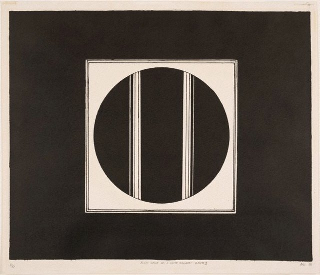 An image of Black circle on a white square – Canto II
