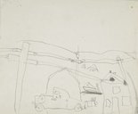 Alternate image of recto: River view verso: Child's drawing of a street scene by Lloyd Rees