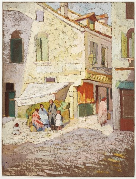 An image of (Vegetable stall, Dieppe or Venice) by Evelyn Chapman