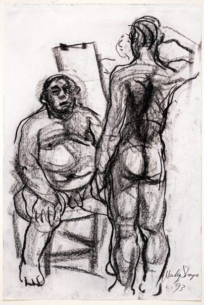 An image of (Seated male and standing, saluting male) by Wendy Sharpe