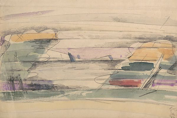 Study for 'Landscape with orange cliffs', (circa 1949-circa 1953) by Godfrey Miller