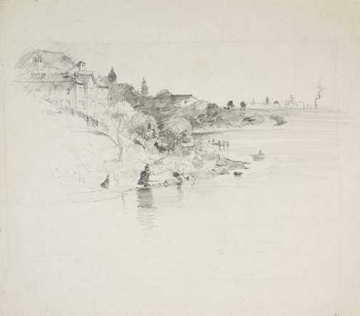 An image of The harbour with houses on the hillside by Lloyd Rees