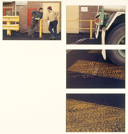 An image of Untitled (2 men, truck, truck tyre and paint, yellow paint. Yarraville sugar refinery) by Merryle A Johnson