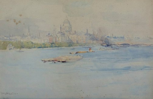 An image of St Pauls from the river Thames by Arthur Streeton