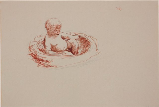 An image of Study for Moses in a reed cradle