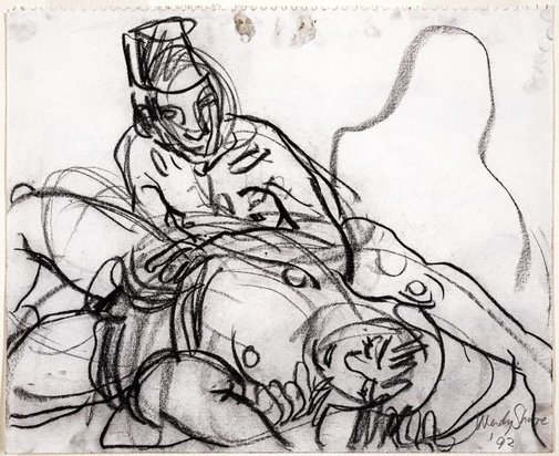 An image of (Seated male with fez, reclining female) by Wendy Sharpe