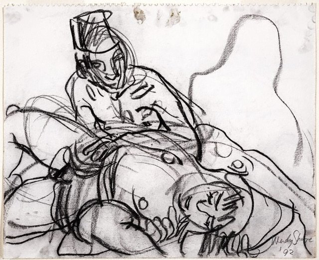 An image of (Seated male with fez, reclining female)