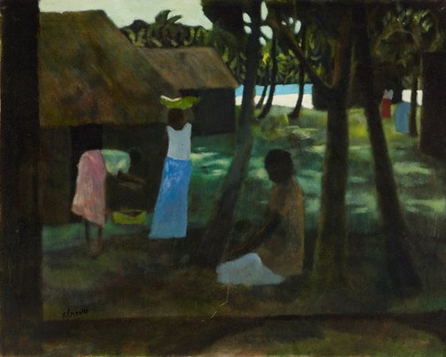 An image of Fijian landscape with three women by Ray Crooke