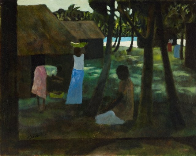 An image of Fijian landscape with three women