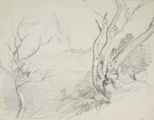 An image of recto: Harbour with trees and hilltop house and Small study of trees verso: Tree study and Tree study by Lloyd Rees