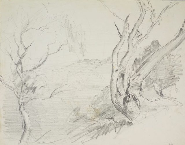 An image of recto: Harbour with trees and hilltop house and Small study of trees verso: Tree study and Tree study