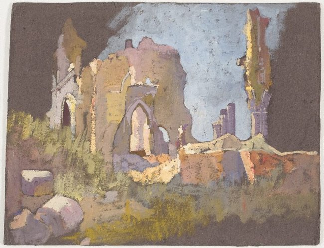 AGNSW collection Evelyn Chapman (Ruined church, Villers-Bretonneux) 1918-1919