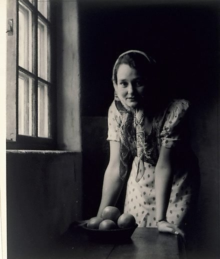 An image of Untitled (Girl in cottage) by William Buckle