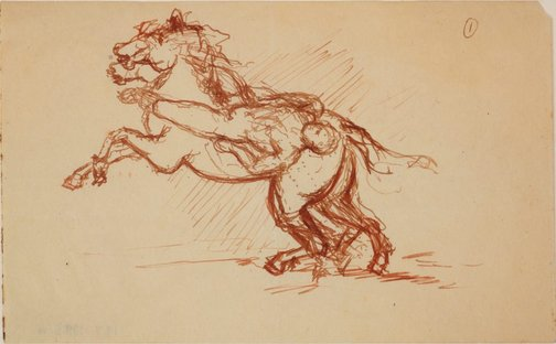An image of Four separate studies for 'Mazeppa' by James Gleeson