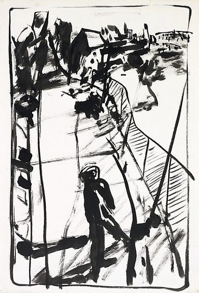 An image of Study for lithograph '3pm Summer figure' by Kevin Connor