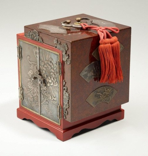 An image of Lacquer box with silver panels by