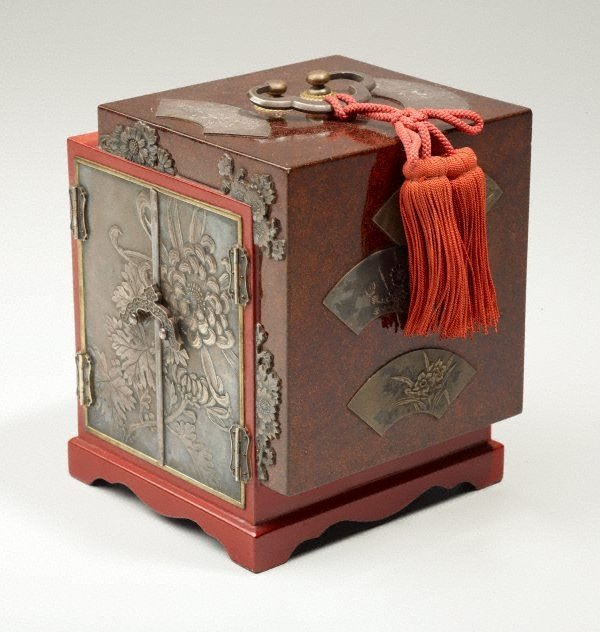 An image of Lacquer box with silver panels