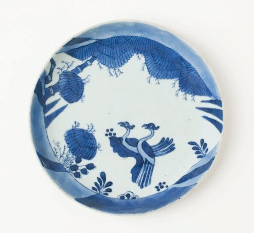 An image of Dish with two birds by Export ware (South East Asia market)