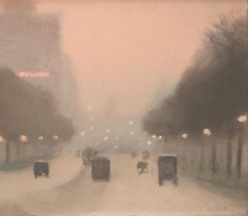 An image of Evening, St Kilda Road by Clarice Beckett