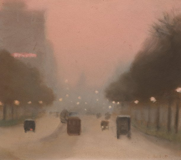 AGNSW collection Clarice Beckett Evening, St Kilda Road (circa 1930) 197.2013