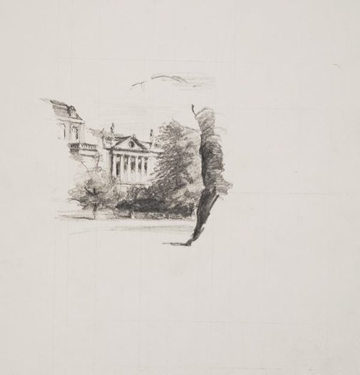 An image of Public building in a square by Lloyd Rees