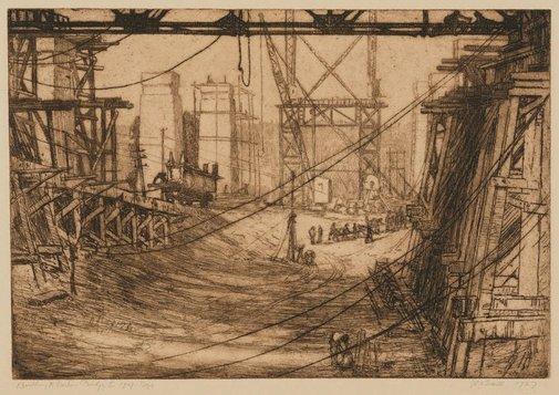 An image of Building the Harbour Bridge I, beginnings by Jessie Traill