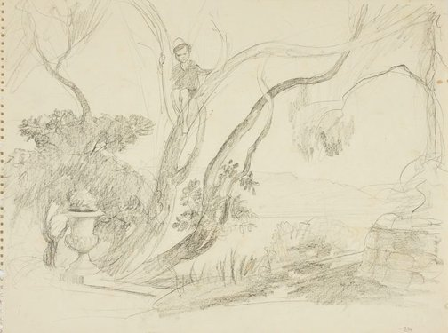 An image of Boy in a tree, Northwood by Lloyd Rees