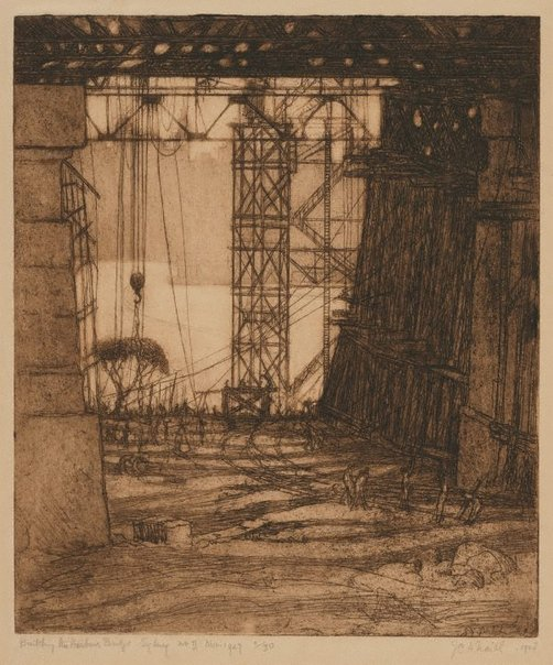 An image of Building the Harbour Bridge II, the works north side Nov.1927 by Jessie Traill