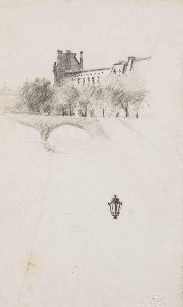 An image of Pavillon de Flore and the Pont Royal, Paris by Lloyd Rees