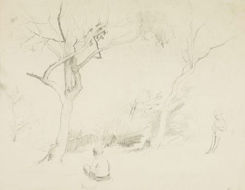 An image of Two children in the bush by Lloyd Rees