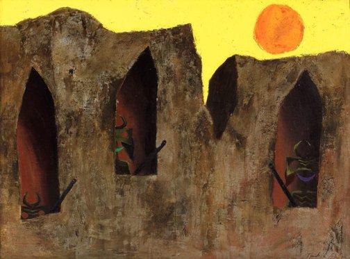 An image of Bushrangers by Albert Tucker