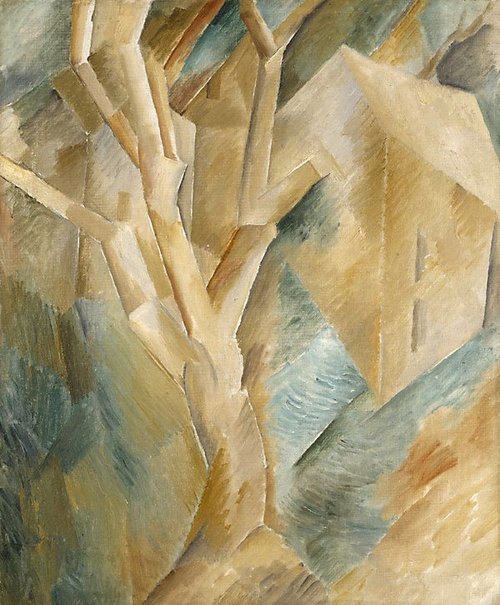 An image of Landscape with houses by Georges Braque