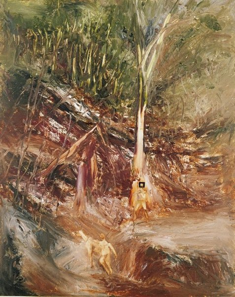 An image of Ned Kelly at the river bank by Sidney Nolan