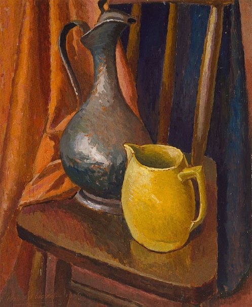 An image of Still life with jug and ewer by Roland Wakelin