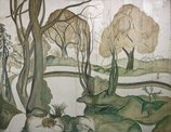 An image of (House and fisherman, woodland and deer, lake) by Roy de Maistre