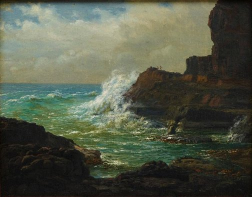 An image of Lower part of the Castle Rock below the Lighthouse, Cape Schanck, Victoria by Eugene von Guérard