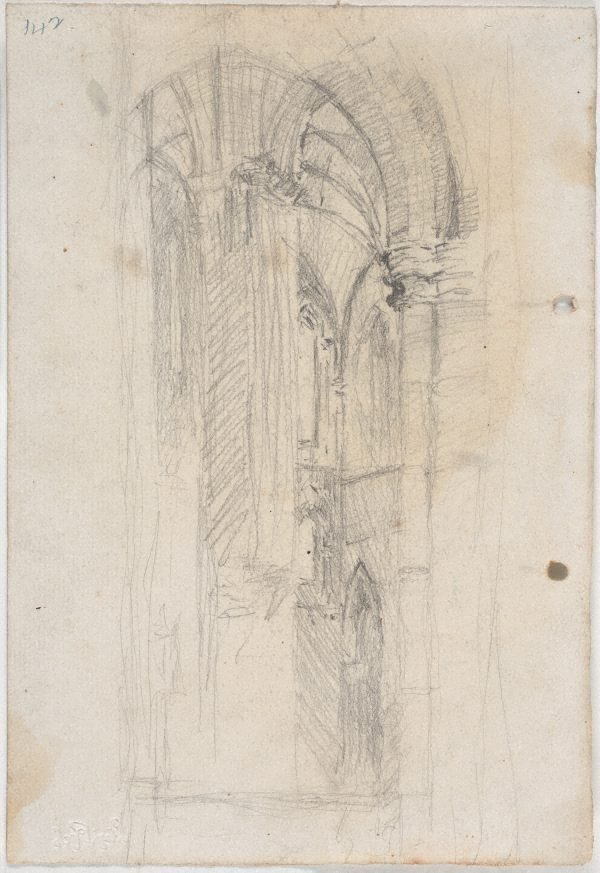 An image of recto: Hermes verso: Corner of St John's Cathedral interior