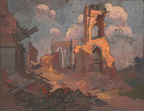 An image of (Ruined church, Villers-Bretonneux) by Evelyn Chapman