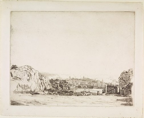 An image of Observatory Hill from North Sydney by Sydney Ure Smith