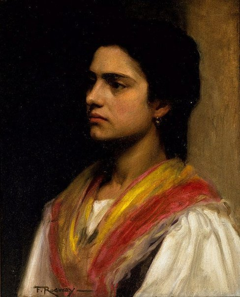 An image of (Woman in a shawl) by Florence Aline Rodway