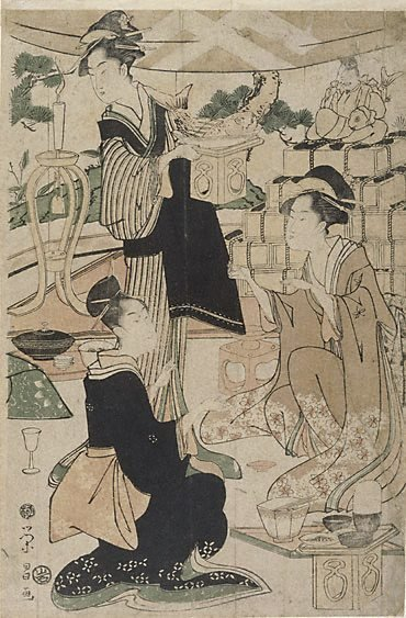 An image of (Women celebrating New Year) by Hosoda Eishô