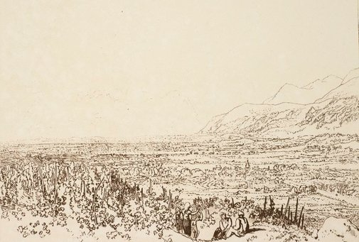 An image of Chain of Alps from Grenoble to Chamberi by Joseph Mallord William Turner