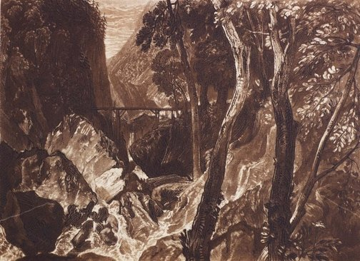 An image of Mill near the Grand Chartreuse by Joseph Mallord William Turner