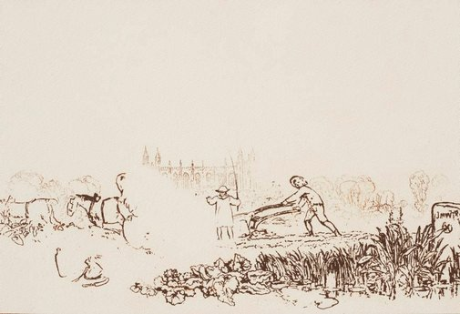 An image of Ploughing, Eton by Joseph Mallord William Turner