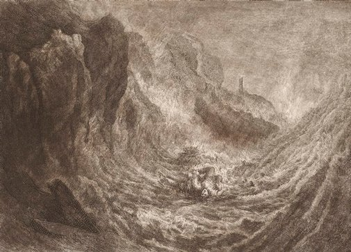 An image of The Lost Sailor by J Fisher, after Joseph Mallord William Turner