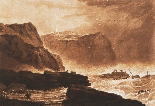 An image of Coast of Yorkshire by Joseph Mallord William Turner