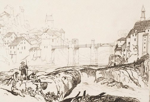 An image of Lauffenenbourgh on the Rhine by Joseph Mallord William Turner