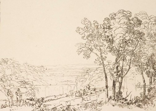 An image of The bridge and goats by Joseph Mallord William Turner