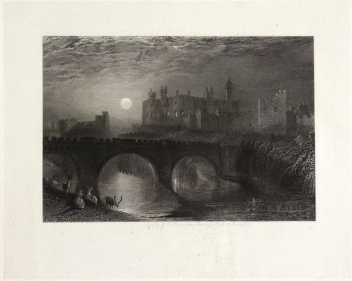 An image of Alnwick Castle, Northumberland by James Tibbitts Willmore, after Joseph Mallord William Turner