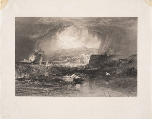 An image of Lyme Regis, Norfolk by Thomas Jeavons, after Joseph Mallord William Turner